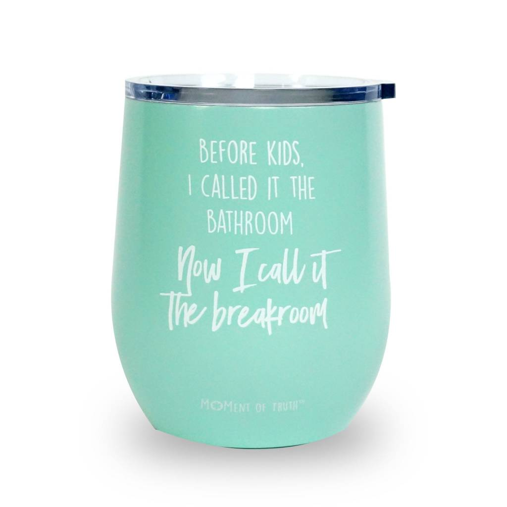 mary square stainless stemless wine glass breakroom aqua cheeky bliss