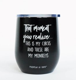 Stainless Stemless Wine Glass- Circus Black