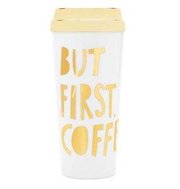 Hot Stuff Thermal Mug - But First, Coffee - Metallic Gold