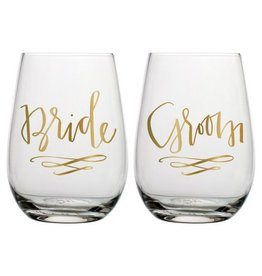 Bride/Groom Stemless Wine Glasses