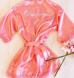 """Satin """"Bridesmaid"""" Robe - Coral"""