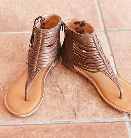 Fino High Strappy Zip Sandal - Tan