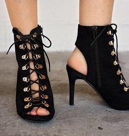 Larisa Heel Lace Peep Toe Bootie-Black