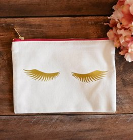 """Lashes"" Cosmetic Bag  - White w/Pink Zip"