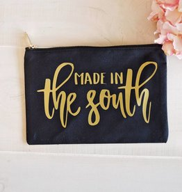 """Made in the South"" Cosmetic Bag  - Black w/Gold"