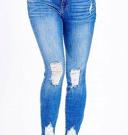 Groovy Girl Mid Rise Skinny Jean- Med Light Denim