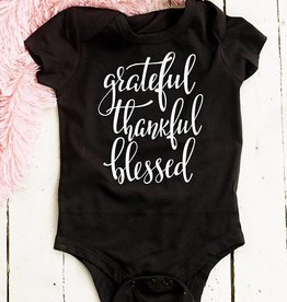 Grateful, Thankful, Blessed Onesie - (Infant) Black