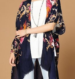 Drinks At Sunset Floral Kimono - Navy