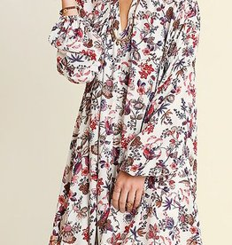 At First Glance Floral Dress- Ivory