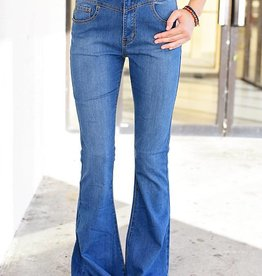 Flashback High Waist Flare Jean - Med. Blue