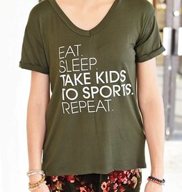 Eat Sleep Sports Repeat Graphic Tee - Olive/White