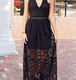 See It Through Lace Maxi Dress - Black