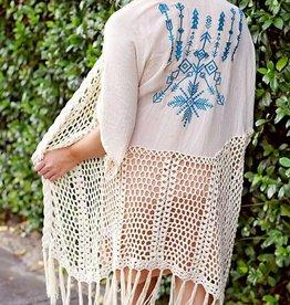 Rhythm Of Love Crochet Duster- Natural