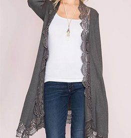 Ever So Sweet Lace Trimmed Kimono - Grey