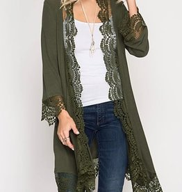 Ever So Sweet Lace Trimmed Kimono - Olive