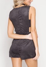 Live For The Night Suede Romper - Grey