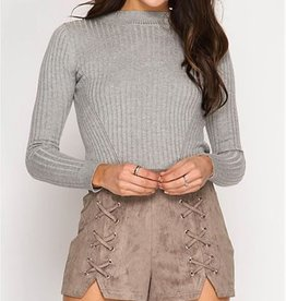 Up In Stitches Faux Suede Shorts - Lt Mocha