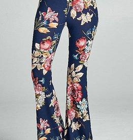 Flower Child Bell Bottom Pants - Navy