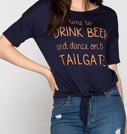 Time To Drink Beer Graphic Tee- Navy/Orange