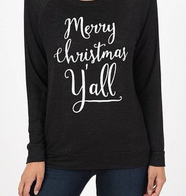Merry Christmas Y'all Sweatshirt - Black Heather