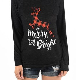 Be Merry and Bright Sweatshirt - Black Heather