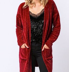 Snowy Dreams Cardigan- Wine