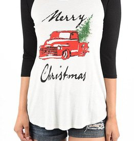 Merry Christmas Red Pickup 3/4 Baseball Tee - Charcoal