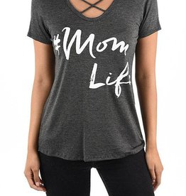 #Mom Life Graphic Tee - Charcoal