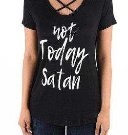 Not Today Satan Graphic Tee - Black