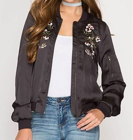 Keep It Cool Satin Bomber Jacket - Charcoal