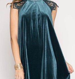 Festive Beauty Velvet Dress - Teal