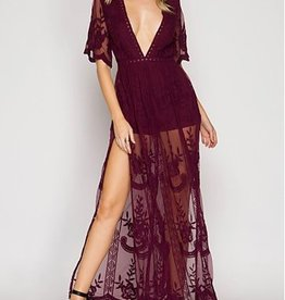 Taken To Heart Lace Maxi Dress - Wine
