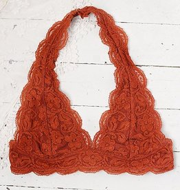Iris Lace Halter Bralette -  Rust