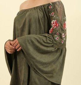 Fire Within Bell Sleeve Top- Olive