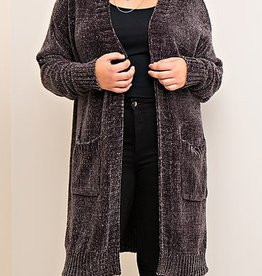 Delightfully Warm Long-Length Cardigan - Charcoal
