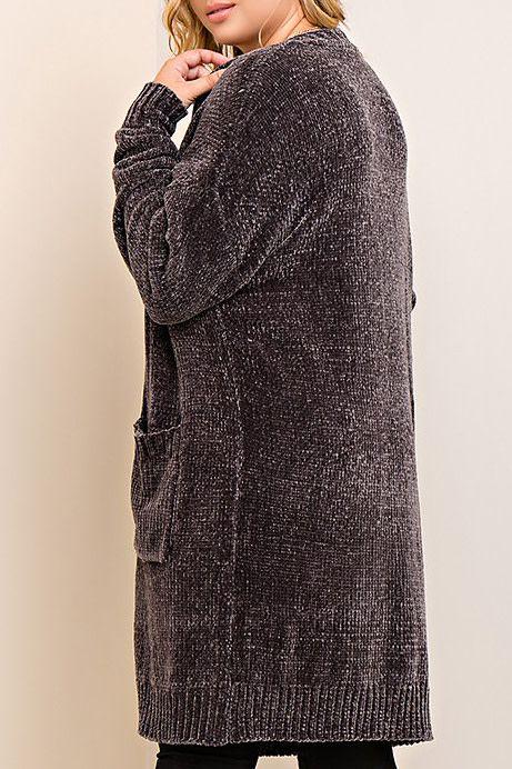 Delightfully Warm Long-Length Cardigan - Charcoal