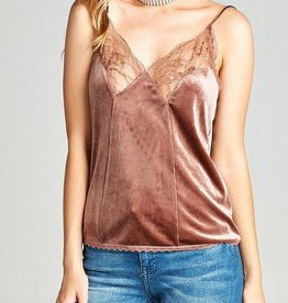 Raw and Rebellious Velvet Lace Cami - Sandy Pink