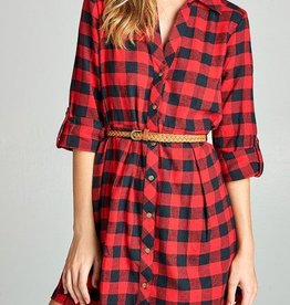 Walking Through The Country Belted Shirt Dress - Red/Black