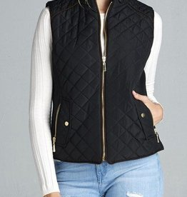 On The Right Track Quilted Vest - Black
