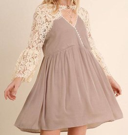 Exquisite In Lace Dress - Latte
