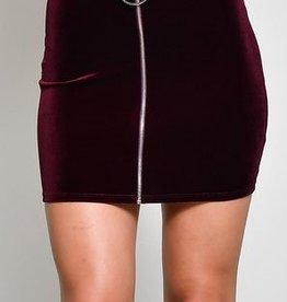 Block Party Velvet Skirt- Burgundy