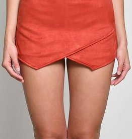 Off She Goes Suede Skort - Rust