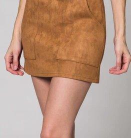 Pleasant Street Suede Skirt - Tan