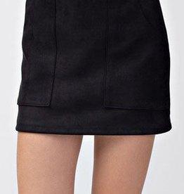 Pleasant Street Suede Skirt - Black