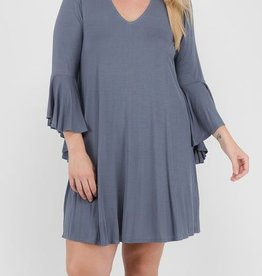 You Will Know Me High Neck Dress -Titanium