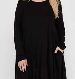 A Romantic Reality Piko Dress- Black