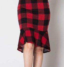 Make It Happen Plaid Skirt- Red/Black