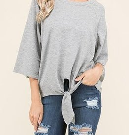 Simple Addition Top - H. Grey