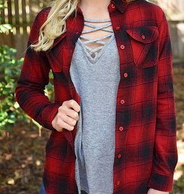 Glad To Be Plaid Flannel Top - Red/Black