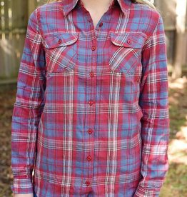 Glad To Be Plaid Flannel Top - Brick/Slate Blue